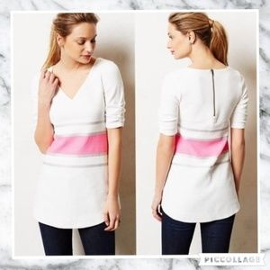 Deletta S Neon Hot Pink Stripe White Tunic Top